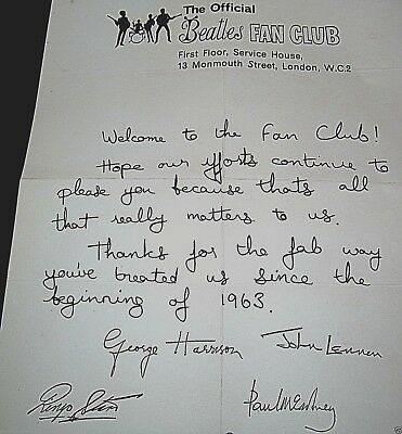 FAN CLUB Letter Signed by 4 BEATLES John Lennon Ring o Star Pop Group 60s Retro