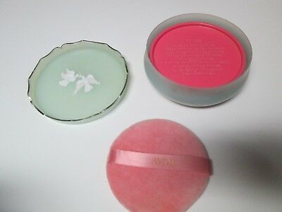 Vtg Avon Rapture Beauty Dust Bath Powder 6 Oz Refill Pink Container & Puff
