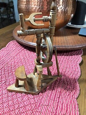 "Vintage Hand Crafted ""Working"" Wood Model Vertical Dutch Spinning Wheel 7.75""H"