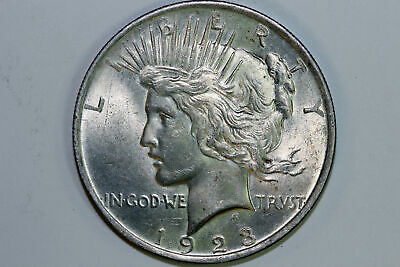 Grades About Uncirculated 1923 P 90% Silver Peace Dollar (PDX1168)