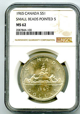 1965 $1 Canada Silver Dollar Ngc Ms62 Small Beads Pointed 5 Voyageur - Ms Unc