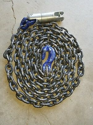 "NEW 3/8"" X 15' grade G-100 oil RIG WINCH LINE CHAIN SWIVEL & GRAB HOOK tow truck"