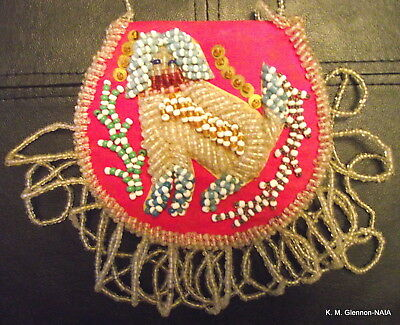 IROQUOIS BEADED  WHIMSY PURSE c. 1910-1920 WITH DOG & PHOTOGRAPH