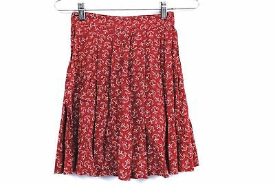 "VTG Girls Cotton Skirt 1940s Red & White Anchor Print Fantastic 40s 22"" Waist"
