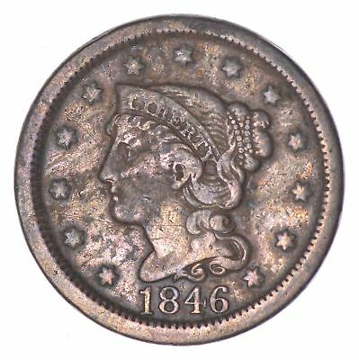 TOUGH 1846 - Braided Hair Large Cent - US Type Coin - Nice Shape! *207