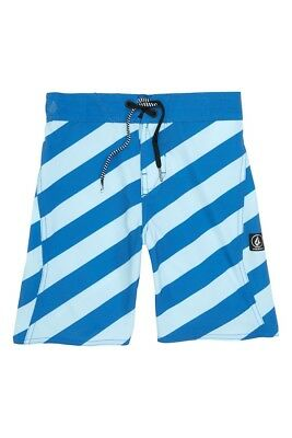 7926c390eb2 Volcom Big Boys M Board Shorts Swim Trunks Blue Stripey Elastic Waist NWT