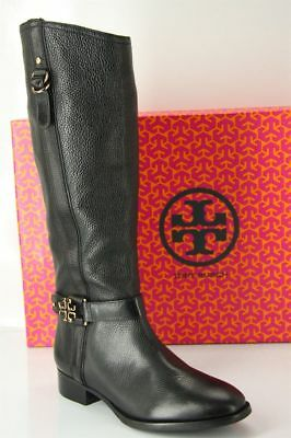 648feea74a03 Tory Burch Womens Elina Riding Boot Size 10.5 Black Leather Logo Belt  495