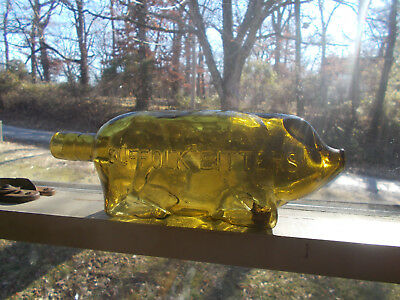 Suffolk Bitters Large Letters Citron Yellow Green Figural Repro Pig Bottle