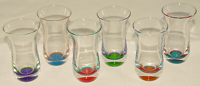 LOT of 6 - Colorful Bottom & Clear Glass Alcohol SHOT GLASSES