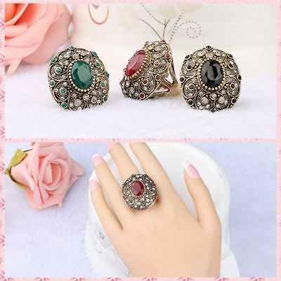 Resin Wedding Engagement Crystal Ancient Gold Plated Oval Shaped Antique Rings