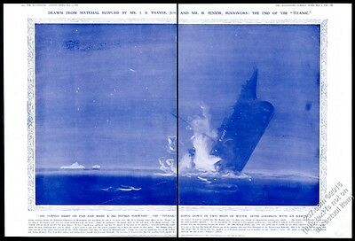 1912 Titanic ship on fire and sinking art BIG vintage print article
