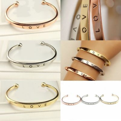 Wedding Men's Women's Stainless Steel Screw Head Love Cuff Bangle Bracelet Gift