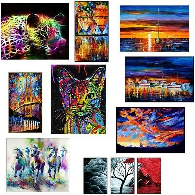 Colorful Animal Landscape Canvas Wall Art Oil Painting Picture Home Room Decor