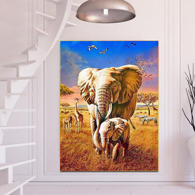 Full Drill 5D DIY Diamond Painting Forest Elephants Embroidery Cross Stitch LD