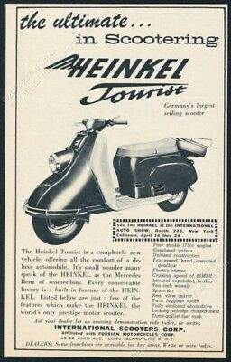 1960 Heinkel Tourist scooter moped photo vintage print ad