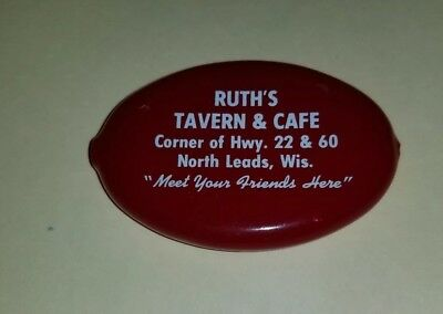 Vtg Red Squeeze Coin Purse Ruth's Tavern Cafe North Leads Leeds Wis Wisconsin