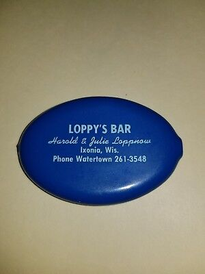 Vtg Squeeze Coin Purse LOPPY'S BAR Harold Julie Loppnow Ixonia Wis Watertown WI