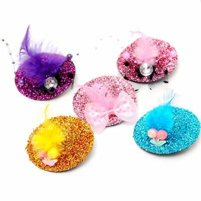 Women Kids Lovely Mini Top Hat Hair Clip Glitter Bright Color Hairpins Barrettes