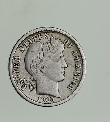Higher Grade 1910-D Barber Liberty US Silver Dime - Great Detail in LIBERTY *551