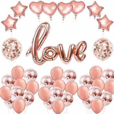 Rose Gold Love Foil Balloons Wedding Hen Party Engagement Valentine's Day Decor