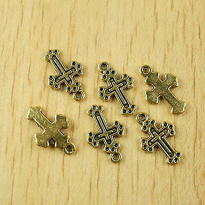 35pcs dark gold-tone cross charms findings h1995