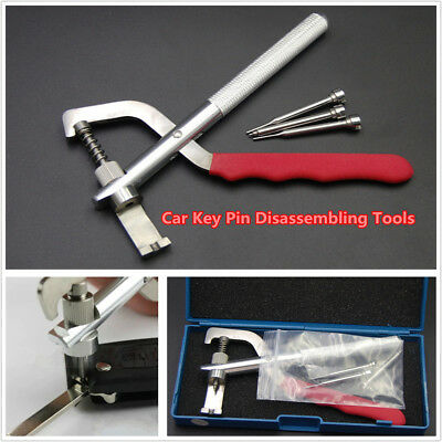 Car Key Blade Pin Disassembling Clamp Pilers Lock Tools Set Kit & Box Universal