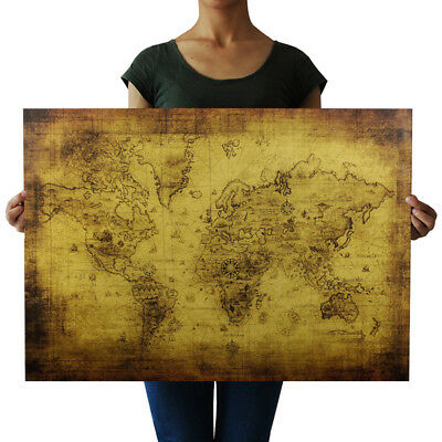 Vintage Style Retro Kraft Paper Poster Globe World Map Cafe Wall Decor Cheerful