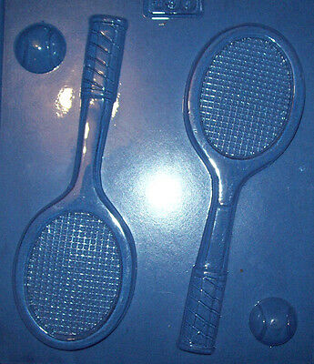 Two Large Tennis Racquets And Two Small Ball Shapes Chocolate Mould