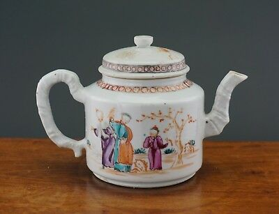 Antique Chinese Porcelain Famille Rose Teapot with Lid Bamboo Handle 18th C