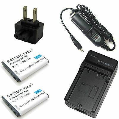 Charger +2x Battery for Samsung BP-70A BP70A EA-BP70A EA-BP70A/CN SLB-70A SLB70A