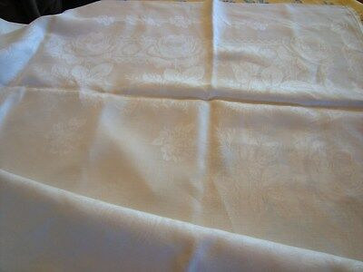 Ancienne Nappe + 12 Serviettes Coton Damasse Blanc
