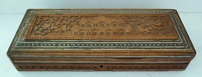 Antique Anglo Indian Sadeli Mosaic Wood Box Mansion House Dog Glove Carved 19thC