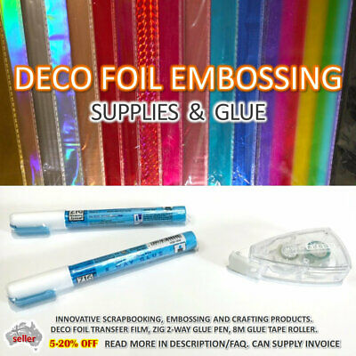 Large Deco foil sheet Pack Zig Glue pen Emboss Scrapbooking Craft Supplies Set