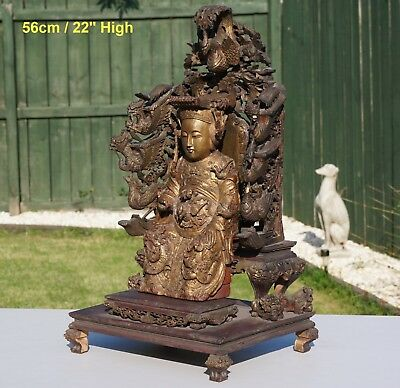 SUPERB! LARGE Antique Chinese Gilded Wood Carving Immortal Phoenix Throne 19th C