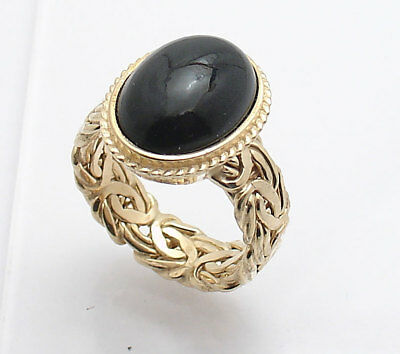 S 8 Technibond Real Black Onyx Crown Byzantine Ring 14K Yellow Gold Clad Silver