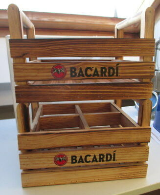 Bacardi Rum 2 X 4 Slot Wooden Bottle Crates+ Neat Blackboard Nice Condition Rare