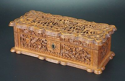 FINE! LARGE Antique Chinese Canton Sandalwood Wood Deep Carved Case Box 19th C
