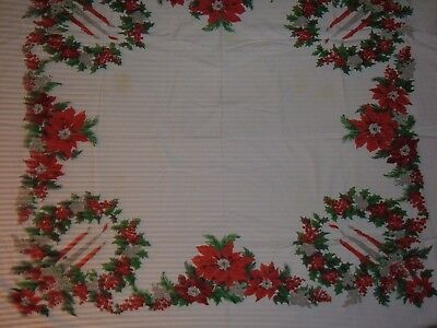 Vintage Tablecloth Christmas Red Berries Holly
