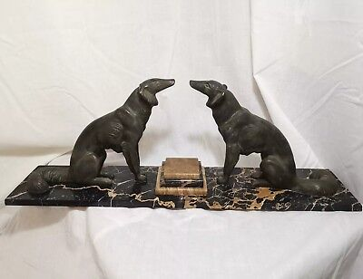 Art Deco Mantel Ornament Two Bronzed Spelter Dogs On Marble Plinth fireplace
