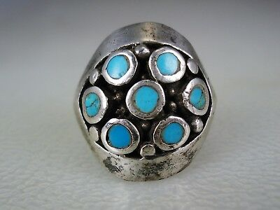 OLD Frank Patania style NAVAJO STERLING SILVER & TURQUOISE CLUSTER RING sz 10.5