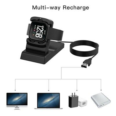 Replacement USB Charger Charging Stand Cradle Dock Adapter for Fitbit Versa US