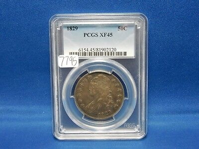 1829 Capped Bust Silver Half Dollar Coin - PCGS XF 45