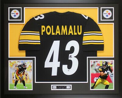 6b20fdab399 Troy Polamalu Autographed & Framed Black Pittsburgh Steelers Jersey Auto  Becket