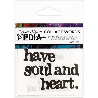 "Dina Wakley Media Collage Word Pack 3""x3"" 20/pkg-#2"