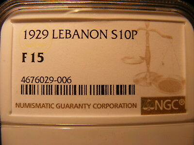 Lebanon 1929 Silver 10 Piastres, KM#6, One Year Type Coin,F-15, NGC Slabbed