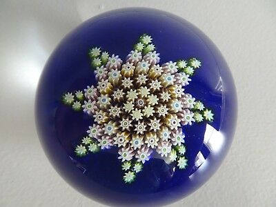 Vintage PERTHSHIRE Glass Scotland Millefiori STAR PATTERN Paperweight Medium