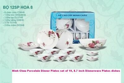 Minh Chau Porcelain Dinner Plates set of 10, 8.7 inch Dinnerware Plates dishes t