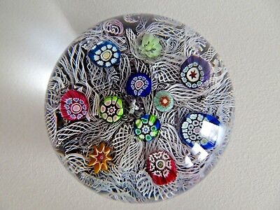 1971 PERTHSHIRE Glass Scotland Latticino & Millefiori PAPERWEIGHT Purple Ground