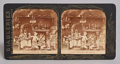 A Very Good Antique Macabre French Tissue Paper Stereoview 'satans Kitchen'