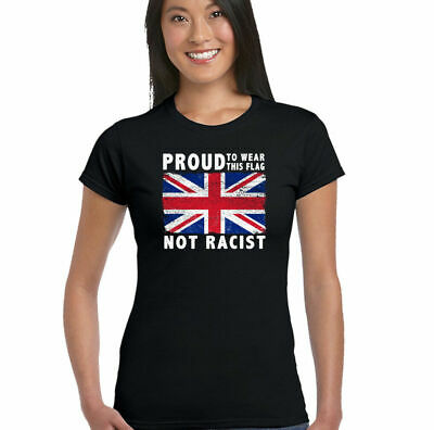 Proud Womens Union Jack Flag T-Shirt Immigration Rugby Football St Georges Day